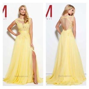 Mac Duggal yellow beaded flower dress NWOT
